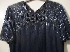Pure Silk After Six by Ronald Joyce midnight blue maxi sz12, sequins with split!
