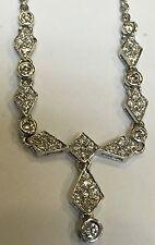 """Vintage 18k White Gold Diamond Pendant Drop Lavalier Geometric  Necklace  17"""""""