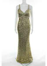 NWT LA FEMME Gold Sequin V Neck Sleeveless Full Length Formal Dress Sz 2 RR7