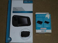 NINTENDO WII U GAMEPAD PLAY GRIP CASE Black & OFFICIAL GAMEPAD CRADLE STAND NEW!