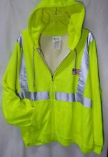 IRON HORSE SAFETY Hoodie Mens XL Neon Yellow REFLECTIVE ANSI Class 2 THERMAL USA