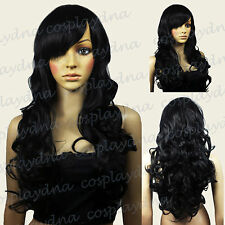 28 inch Hi_Temp Series Black Curly Long Cosplay DNA Wigs 70001