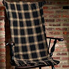 New Country Primitive Farmhouse Classic BLACK PLAID THROW Woven Coverlet Blanket
