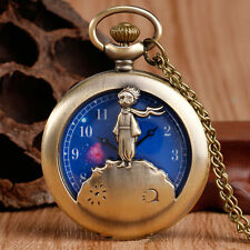 The Little Prince Universe Blue Planet Cartoon Children Quartz Pocket Watch Gift
