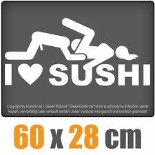 I Love Sushi  chf0002 weiß 60 x 28 cm Heckscheibenaufkleber Scheibe Auto