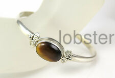 SAJEN GEMSTONE BANGLE CUFF BRACELET Tiger Eye Polished 925 Sterling Silver