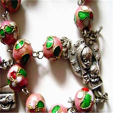 PINK CLOISONNE ROSE BEADS 5 DECADE ROSARY CROSS crucifix catholic necklace