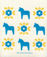 Dish Cloth Dala Horse Blue