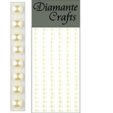 120 x 5mm Ivory Pearl Self Adhesive Strips Rows Craft Embellishment Gems