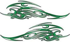 "Tribal Scroll Motorcycle Tank Flame Decals Green 13.5"" REFLECTIVE FL16"