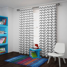 """Eclipse Thermaback Blackout Wavy Chevron Curtain Panel,Grey, 42"""" x 84"""""""