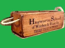 HOGWARTS SCHOOL POTIONS & SPELLS wooden trug box with rope handles.HARRY POTTER