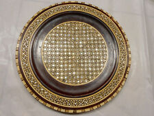 Fine SADELI Inlay Wooden Plate Arabesque Mother-of-Pearl Marquetry