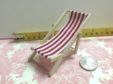 Dollhouse Miniature Folding Beach Park Garden Cloth Wood Chair Red 1:12