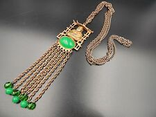 BUDDHA GREEN PEKING JADE GLASS TASSEL DANGLES Vintage Necklace