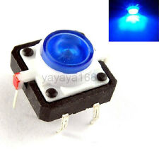 100pcs Illuminated Blue LED Light Momentary Tact Switch Pushbutton 12x12mm DIP
