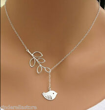 Cinderella's Necklace with a Little Bird and Leaf Branch Pendant