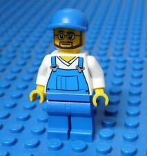 LEGO Minifig City Overalls Blue over V-Neck Shirt, Blue Legs from set 4432 x1PC