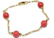 Coral 8mm Ball 7.5 inch Bracelet 18k Gold Plated - Coral Ball Bracelet