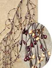 Primitive WISPY 4.5 Ft Pip Berry Garland BURGUNDY & GOLD Berries, Crafts Country