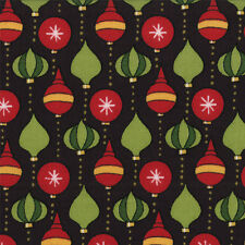 Christmas Countdown Moda Quilt Fabric 1/2yd Ornaments on Black 19627-14