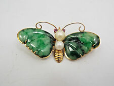 Vintage 14K Yellow Gold Nephrite Jade & Pearl Butterfly Brooch Pin, Hong Kong