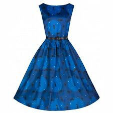 NEW VINTAGE 50'S STYLE AUDREY BLACK CAT ROCKABILLY SWING PARTY DRESS SIZE 10