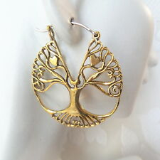 Tree of Life Brass Hoop Earrings with .925 Sterling Silver Hook Boho Jewelry