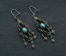 Quality Oxidised 925 Sterling silver large Filigree faux Turquoise drop earrings