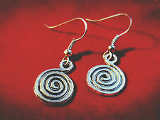 Spiral Charm Earrings Spritual Progression Bohemian Boho Ethnic , Front Facing