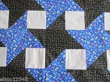 "Friendship Star NEW PIECED PATCHWORK QUILT TOP, 88""x 88"", B. Blue, Black, 6304"