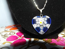 Millefiori Glass Heart Bead with Sterling Silver chain Blue/white/yellow