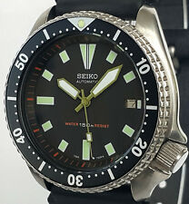 "Vintage mens SEIKO diver 7002 mod w/new ARMY GREEN Plongeur & ""Box"" SS hand set!"