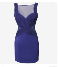 Gorgeous Lipsy Purple Mesh Ruched Bodycon Mini Size 8 Dress £58 Party Club