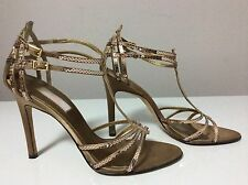 Jlo (Jenifer Lopez) Women's Brown Sequin and Satin Strappy Sandal Heels Size 7.5