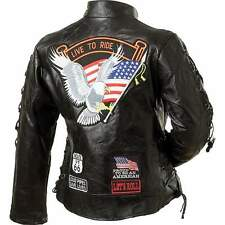 WOMEN'S Ladies Black Leather Motorcycle Biker Jacket SIZE SMALL