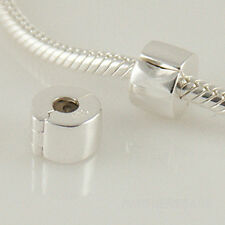STOPPER CLIP LOCK Genuine 925 Sterling Silver Charm Bead Fits European Bracelet