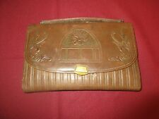 "Vintage BrownTooled Cowhide 10"" x 6"" Small Briefcase/clutch-"