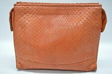 Mauro Governa Suarez New York Designer Orange Snake Skin Exotic Small Clutch