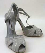 RALPH LAUREN Ladies Grey Suede T-Bar Peep Toe Stiletto Heel Shoes UK4 EU37