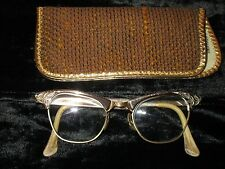 Mid-Century 12K gf Gold Frame Horn Rimmed Cat EyeGlasses vtg 50s Antique Girl
