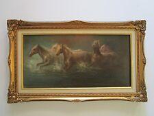 MORANDO LUGUE PAINTING RUNNING HORSE EQUINE EQUESTRIAN IMPRESSIONISM VINTAGE