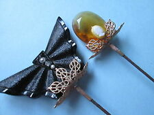 Antique/Vintage   hat pins lot off 2 Art Deco:glass beads and filigree