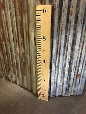 A Classic Rustic Wooden Reclaimed Pine Height size Measuring Wall Chart Ruler