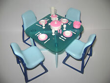 Vintage 1977 Barbie Dream House Blue Dining Furniture 4 Chairs Accessories LOT