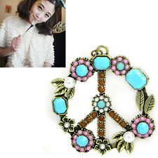 Vintage Flower Coral Turquoise Pearl Peace Sign Pendant Long Necklace Jewelry