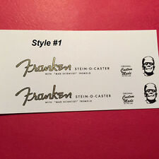 Franken stein-o-caster metallic gold guitar waterslide headstock decals 3 styles