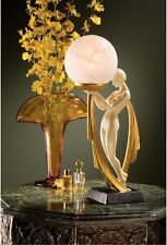 """16"""" Art Deco Demure Miss Nude Frosted Glass Globe Illuminated Statue Lamp"""
