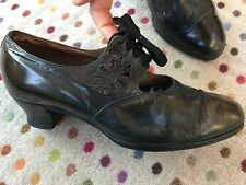Old Edwardian / 1920 shoes black leather 5G lace up antique