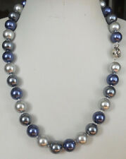 """12MM Blue Gray South Sea shell pearl necklace 23"""""""